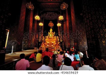 BANGKOK, THAILAND-October 09, 2011: Buddhist temples in popularity during the great merit, Wat Bowonniwet Vihara, Bangkok, Thailand - stock photo