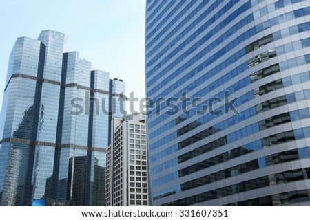 BANGKOK, THAILAND - OCTOBER 26 : Cityscape view of exterior modern building at business area in Bangkok ,Thailand on October 26, 2015.