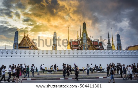 BANGKOK,THAILAND-OCTOBER 21,2016:Crowds of mourners come for remember the memory and worship Thai King Bhumibol Adulyadej at Wat Phra Kaew on October 21,2016 in Bangkok,Thailand.