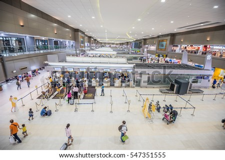 Bangkok,Thailand-October 9,2016 :Interior with passenger of Don Mueang International Airport New Terminal 2 for domestic departure in Bangkok, Thailand.