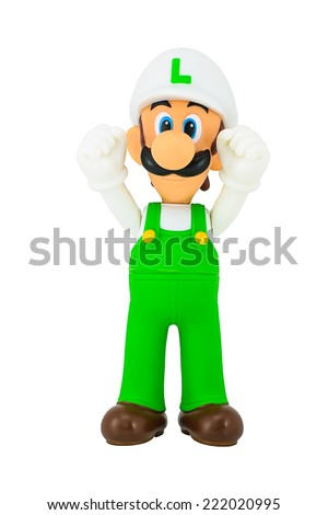 Bangkok, Thailand - October 5, 2014: Luigi toy action figure character from Super Mario video game console developed by Nintendo EAD.