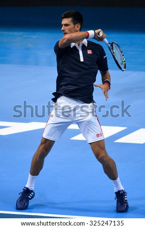 BANGKOK THAILAND OCTOBER 02:Novak Djokovic of Serbia in action during the Black to Thailand Nadal vs Djokovic exhibition match at Hua Mark Indoor Stadium on Oct 2, 2015 in,Thailand. - stock photo