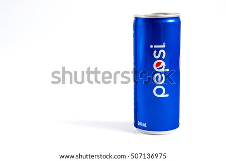 Bangkok, Thailand - October 30, 2016:Pepsi cola can placed on white background. Pepsi is a carbonated soft drink that is produced and manufactured by PepsiCo.