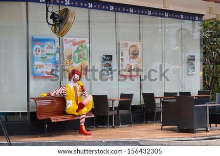Bangkok, Thailand - October 1, 2013: Ronald McDonald at front of McDonald's restaurant on 1 October 2013 at The Circle, Ratchapruk road, Bangkok - stock photo