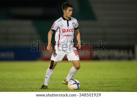 BANGKOK,THAILAND- OCTOBER31:Sarach Yooyen of Muangthong United. in action  during Thai Premier League 2015 Army Utd. and Muangthong United at Army stadium on Oct 31,2015 Bangkok,Thailand - stock photo