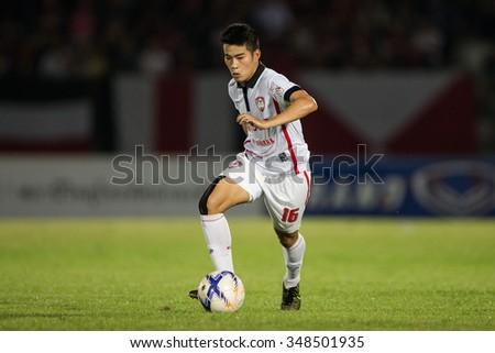 BANGKOK,THAILAND- OCTOBER 31:Sarach Yooyen of Muangthong United. in action during Thai Premier League 2015 Army Utd. and Muangthong United at Army stadium on Oct 31, 2015 Bangkok,Thailand - stock photo