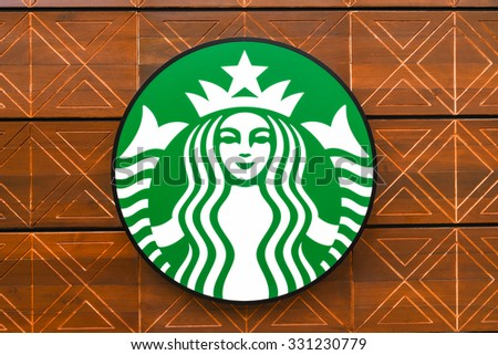 BANGKOK, THAILAND - OCTOBER 15, 2015: Starbucks Coffee is  very popular brand name in the world. - stock photo