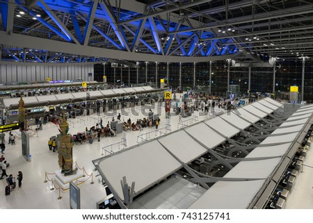 BANGKOK, THAILAND - OCTOBER 27, 2017: The image of the passenger terminal of Bangkok Suvarnabhumi Airport, the world busiest airports which are 60 million passengers use this airport in 2016.