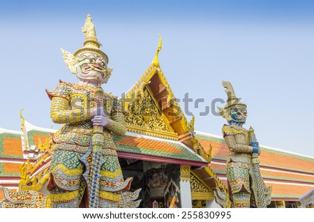 Bangkok, Thailand - Royal Palace and Wat Phra Kaeo Complex - statues - stock photo