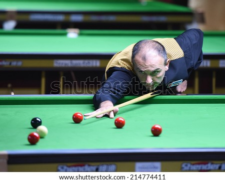 Bangkok, Thailand - SEP 3:Alex Borg of Malta participates in a Sangsom Six-red World Championship 2014 at Montien Riverside Hotel on September 3, 2014 in Bangkok, Thailand.