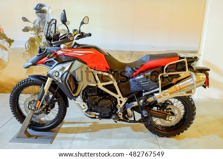 Bangkok-Thailand Sep 11 2016:Close up BMW F800 GS, one of highlights of the BMW Xpo 2016 (8-11/Sep/2016) at Central World shopping mall Bangkok Thailand. Editorial