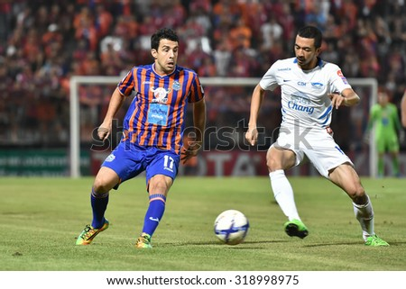 BANGKOK THAILAND-SEP20:Gorka Belasko(L) of Thai Port Fcin action during Thai Premier League2015 between Thai Port Fc and Chonburi F.C.at PAT Stadium on September20,2015 in Bangkok Thailand - stock photo