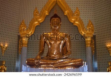 BANGKOK, THAILAND - SEP 6, 2013: Pure gold Buddha in Wat Traimit Temple, Bangkok, Thailand - stock photo