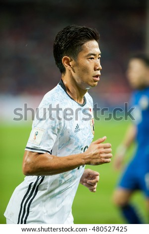 BANGKOK THAILAND - SEP 6, 2015: Shinji Kagawa in action during FIFA WORLD CUP 2018 (qualification) between Thailand(B) and Japan (W) at Rajamangla Stadium on September 6, 2015 Bangkok, Thailand.