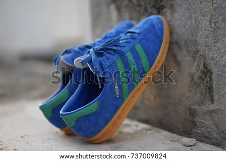 BANGKOK, THAILAND - September 8,2017: Adidas Originals Hamburg city series  sneakers -