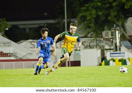 BANGKOK, THAILAND - SEPTEMBER 12 : B.Warland (Y) in action during AFC U16 Championship 201, between Thailand vs Australia on September 12, 2011 at Thebhussadin Stadium in Bangkok, Thailand