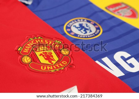 BANGKOK, THAILAND - SEPTEMBER 15, 2014: background of new english premier league football jersey in Bangkok Thailand on 15 September 2014. - stock photo
