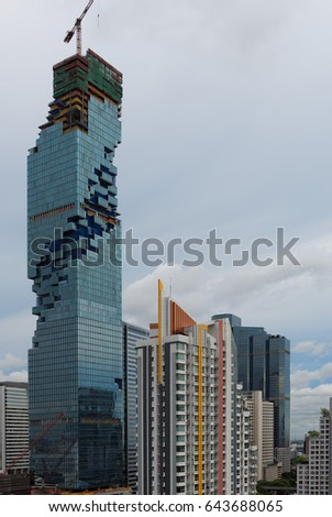 BANGKOK, THAILAND - SEPTEMBER 4, 2015: Beautiful view of the modern building in downtown of Bangkok.