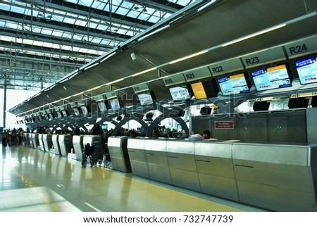 Bangkok, Thailand - September 9, 2017: Check- in Counter is in Suvanaphumi Airport, one of the most crowded airport in the World.