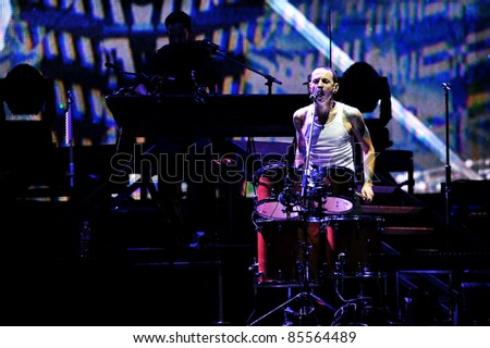 BANGKOK, THAILAND-SEPTEMBER 23: Chester Bennington of Linkin Park performs on Linkin Park Live in Bangkok A Thousand Suns World Tour 2011 at Impact Maungthong Thani, September 23, 2011 in Bangkok, Thailand