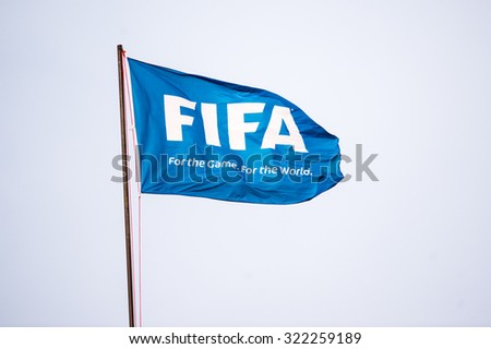 BANGKOK,THAILAND SEPTEMBER 08:FIFA flag show in the stadium during the 2018 FIFA World Cup Qualifier between Thailand and Iraq at Rajamangala Stadium on Sep 8, 2015 in Thailand. - stock photo