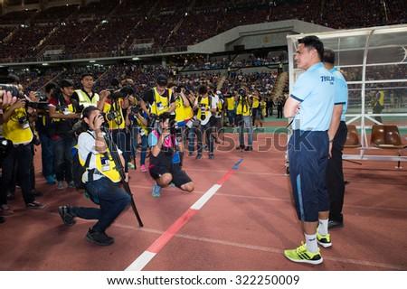 BANGKOK,THAILAND SEPTEMBER 08:Kiatisuk Senamuang head coach (R)of Thailand poses during the 2018 FIFA World Cup Qualifier between Thailand and Iraq at Rajamangala Stadium on Sep 8, 2015 in Thailand. - stock photo
