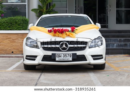 Bangkok, Thailand - September 21, 2015: Mercedes Benz wedding car with decorations in the parking. - stock photo