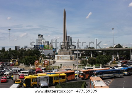 Bangkok, Thailand - September 2, 2016: Monument of Victory in bangkok Thailand. Monument of Victory is the landmark of thailand. This circle of Monument have a lot of traffic jam.