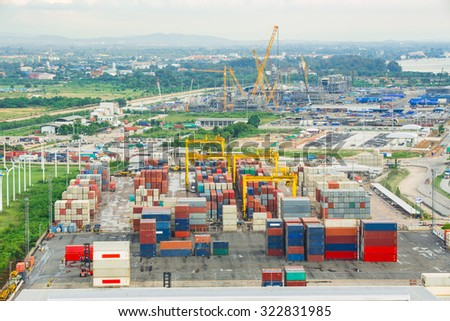 Bangkok, Thailand - 28 September 2015 : Numerous shipping containers in port - stock photo