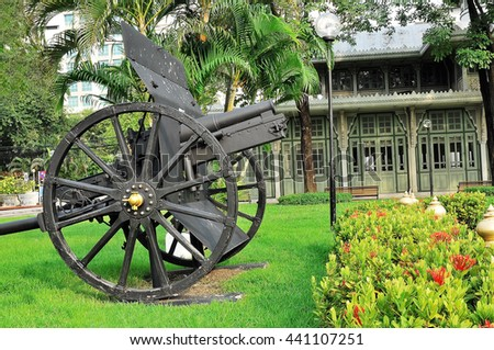 BANGKOK,THAILAND September 25:  Old Cannon in Phya Thai Palace, Phya Thai District, Thailand on September 25, 2010