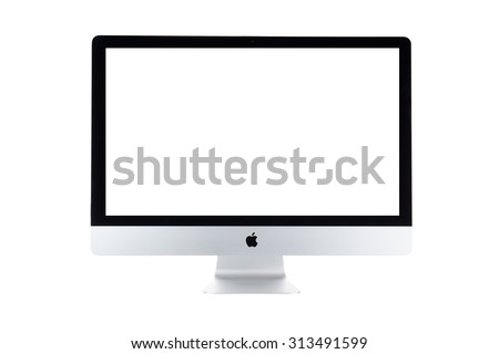 BANGKOK, THAILAND - September 6,2015: Photo of new iMac27 With OS X Yosemite.created by Apple Inc. - stock photo