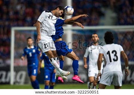 BANGKOK,THAILAND SEPTEMBER 08:Saad Abdul-Amir no.21(white)of Iraq  in action during during the 2018 FIFA World Cup Qualifier between Thailand and Iraq at Rajamangala Stadium on Sep 8,2015 in Thailand. - stock photo