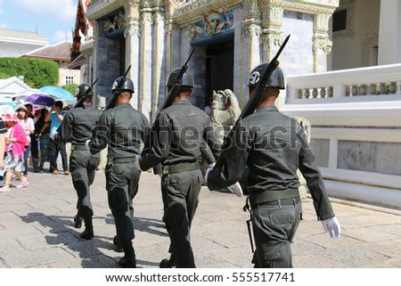Bangkok, Thailand - September 15, 2016: Thai soldiers are marching at Grand Palace, the official residence of the Kings of Siam.