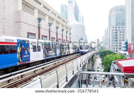 Bangkok, Thailand - September 11, 2015: The Bangkok Mass Transit System, known as BTS or Skytrain, is an elevated rapid transit system in Bangkok. The system consists of 34 stations along two lines.
