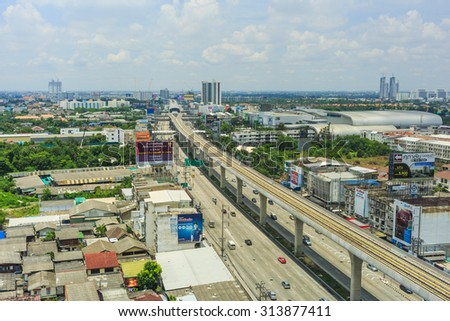 BANGKOK, THAILAND - SEPTEMBER 7: The elevated rail of  BTS Skytrain in day time in Bangkok , Thailand on September 7, 2015. - stock photo