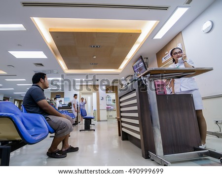 Bangkok,Thailand- September 8, 2016 : The man wait for the doctor, to use Social Insurance that Using social security rights in Thailand  are many problems.