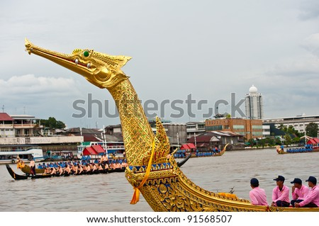 BANGKOK,THAILAND-SEPTEMBER,20:The Royal Barge Procession Exercises  on the occasion for Royal Krathin ceremony which will take place at Wat Arun Ratchavararam,September 20,2011 in Bangkok,Thailand. - stock photo