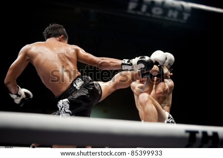 BANGKOK THAILAND- SEPTEMBER 25 : Unidentified players in Thai Fight : Muay Thai..World's Unrivalled Fight on September 25, 2011 at Thammasat University Cnvention Center,Bangkok Thailand - stock photo