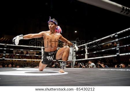 BANGKOK, THAILAND- SEPTEMBER 25 : Unidentified players in Thai Fight:Muay Thai. World's Unrivalled Fight on September 25, 2011 at Thammasat University Convention Center, Bangkok, Thailand - stock photo