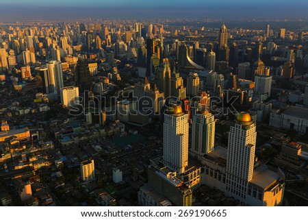 Bangkok Thailand skyline aerial view with beauty of Sunset - stock photo