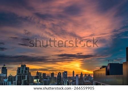 Bangkok Thailand skyline at twilight sky. - stock photo