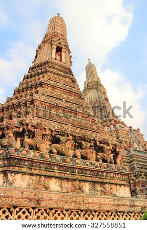 Bangkok, Thailand, Southeast Asia - Wat Arun Buddhist temple in sunset light.