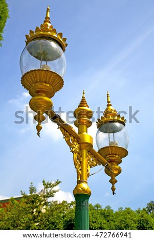 bangkok thailand street lamp in the sky   palaces  temple   abstract  sunny day