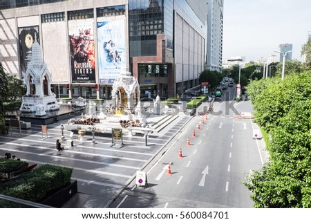 Bangkok/Thailand: 19th January 2017- Central World shopping mall is one of the popular mall in Bangkok.  Visitors can also offer their prayers in front of the mall.