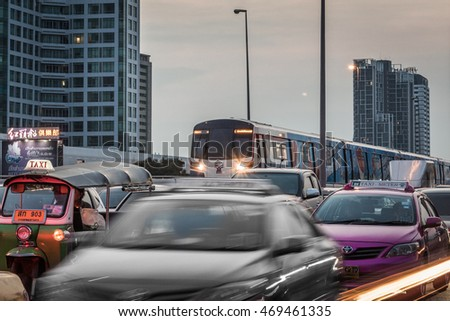 Bangkok, Thailand - 2016: The Bangkok Mass Transit System, commonly known as the BTS Skytrain is an elevated rapid transit system in Bangkok, Thailand.