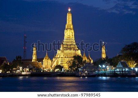 Bangkok, Thailand - Wat arun in sunset. - stock photo