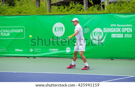 BANGKOK,Thailnd - May 22: James DUCKWORTH of Australia in the tournament list KPN renewable Bangkok opened in 2016  the final at Rama Gardens Hotel on May 22, 2016 in Bangkok, Thailand.