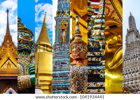 Bangkok Themed Collage Featuring All The Famous Attractions Of City Including Grand Palace
