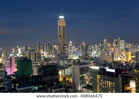 Bangkok top view with many buildings,Thailand. Bangkok is the most populated city in Southeast Asia with one sixth of population live and visit Bangkok every day - stock photo