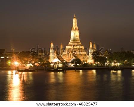 Bangkok - Wat Arun temple: night view  (large format photography) - stock photo
